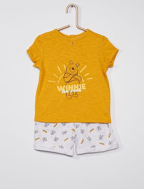 Conjunto de pantalón corto + camiseta 'Winnie' 'Disney'                                         AMARILLO