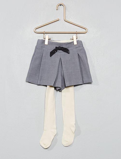 Conjunto de pantalón corto + leotardos                                         gris