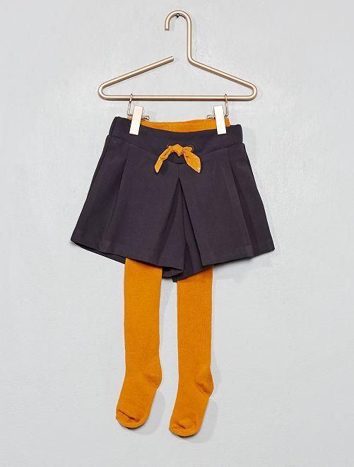 Conjunto de pantalón corto + leotardos                                         NEGRO