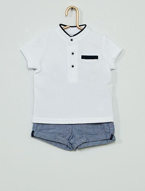 Conjunto de pantalón corto + polo 'eco-concepción'                             BLANCO