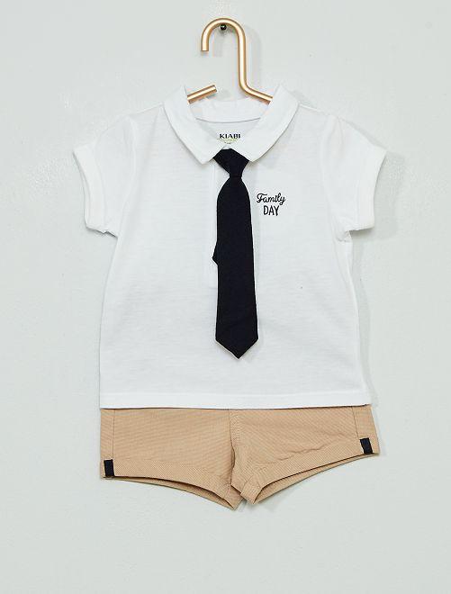 Conjunto de pantalón corto + polo 'eco-concepción'                             blanco/beige