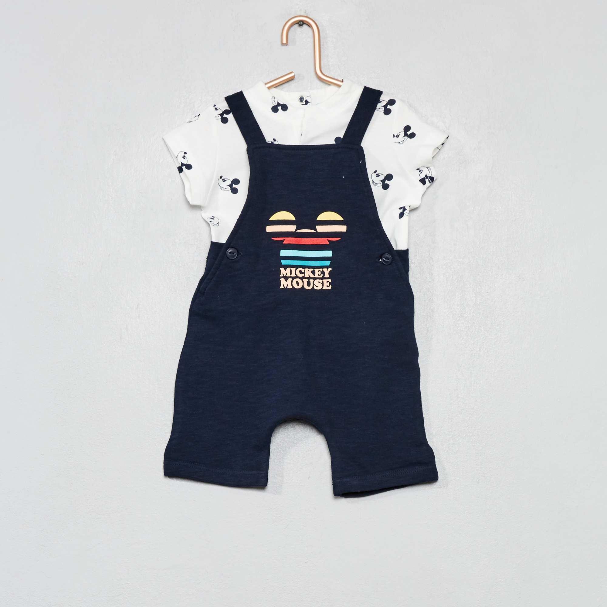 700289913 Conjunto de peto + camiseta  Mickey  Bebé niño - NEGRO - Kiabi - 18
