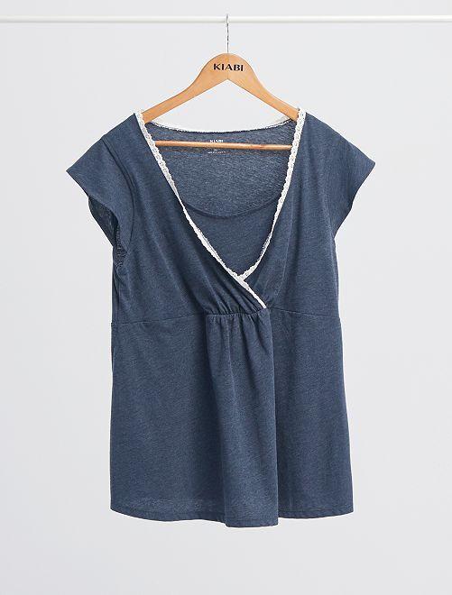 Conjunto de pijama premamá 'eco-concepción'                                         azul