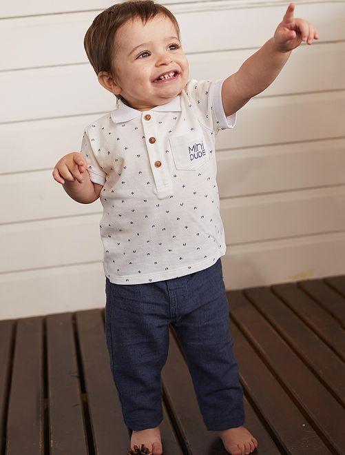 Conjunto de polo + pantalón                             AZUL Bebé niño