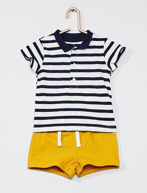 Conjunto de polo + pantalón corto                                                     a rayas azul
