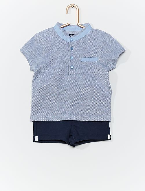 Conjunto de polo + pantalón corto                             AZUL