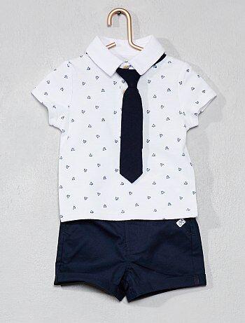 93fd10cceac2c Niño 0-36 meses - Conjunto de polo + pantalón corto - Kiabi
