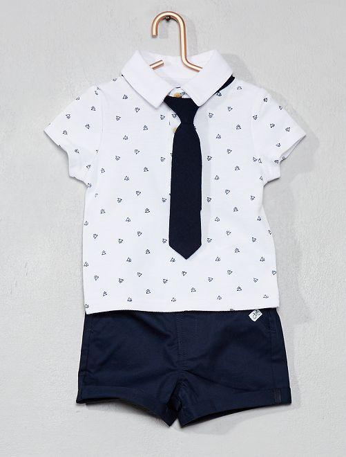 Conjunto de polo + pantalón corto                                         BLANCO Bebé niño