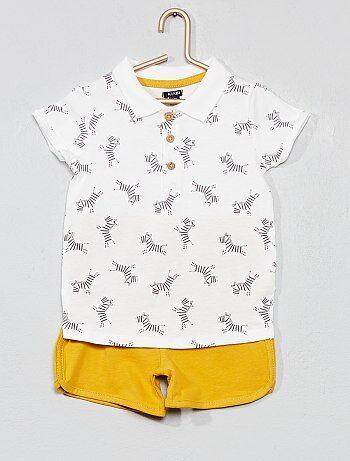 34cf7ad5a Niño 0-36 meses - Conjunto de polo + pantalón corto  cebra  -