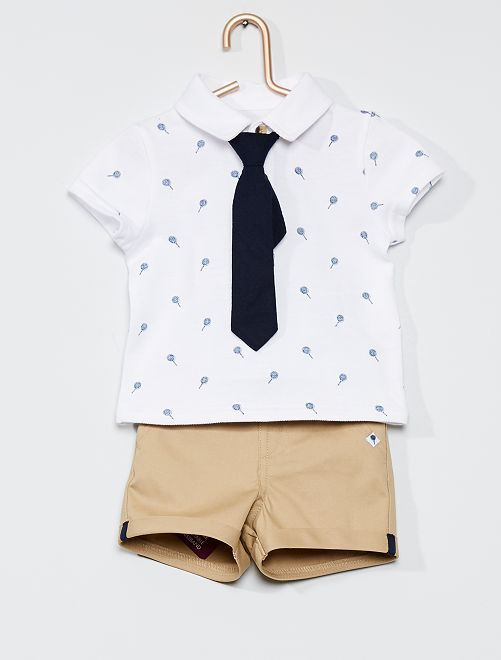 Conjunto de polo + pantalón corto + corbata                             BLANCO