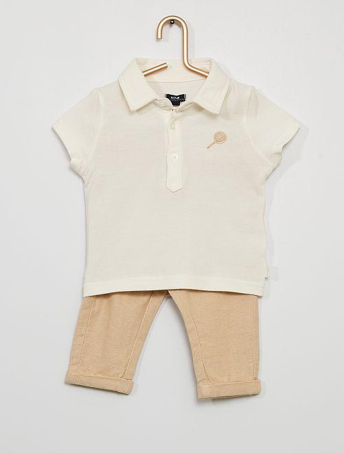 Conjunto de polo + pantalón eco-concepción                             blanco/beige