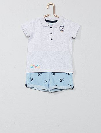 5d3d94e61ba Niño 0-36 meses - Conjunto de polo + pantalón vaquero corto  Mickey