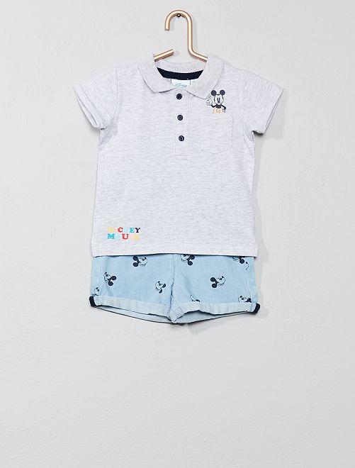 Conjunto de polo + pantalón vaquero corto 'Mickey'                             GRIS Bebé niño
