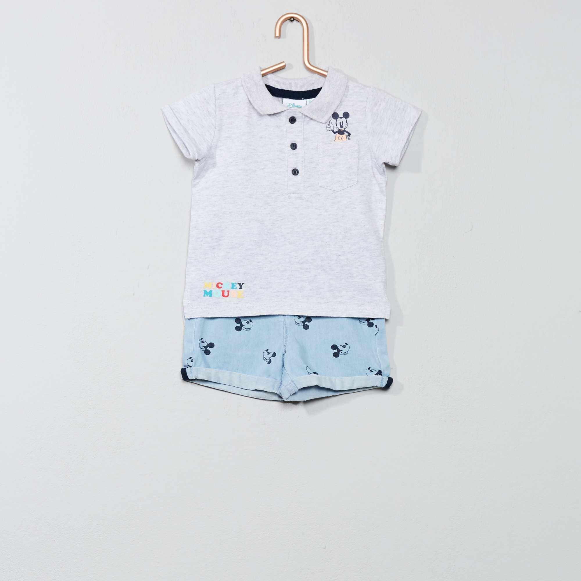 c3f2a4581 Conjunto de polo + pantalón vaquero corto  Mickey  Bebé niño - GRIS ...