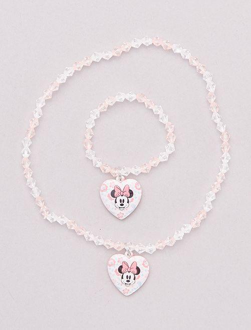 Conjunto de pulsera + collar 'Minnie Mouse' Disney'                             ROSA