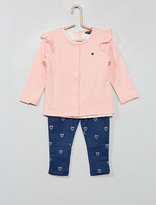 Conjunto de sudadera + camiseta + jegging                             ROSA Bebé niña