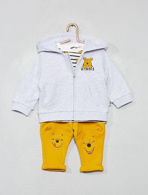 Conjunto de sudadera + camiseta + pantalón 'Winnie'                             GRIS