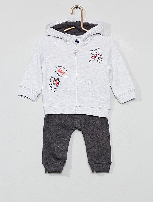 Conjunto de sudadera con capucha + pantalón de jogging                                         GRIS Bebé niño