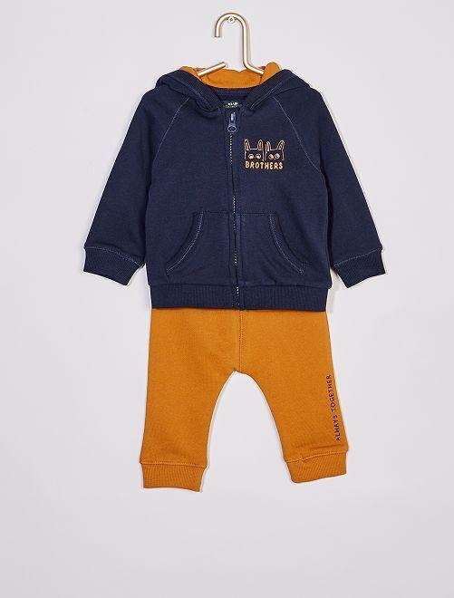 Conjunto de sudadera con capucha y cremallera + pantalón eco-concepción                                         AZUL