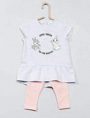Niña 0-36 meses - Conjunto de vestido + legging 'Conejita' - Kiabi