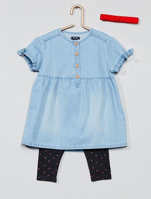 Conjunto de vestido + legging + diadema                             AZUL Bebé niña