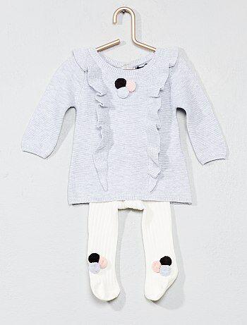 Niña 0-36 meses - Conjunto de vestido + leotardos con pompones - Kiabi