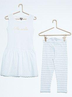 Conjuntos - Conjunto de vestido sin mangas de dos materiales + legging