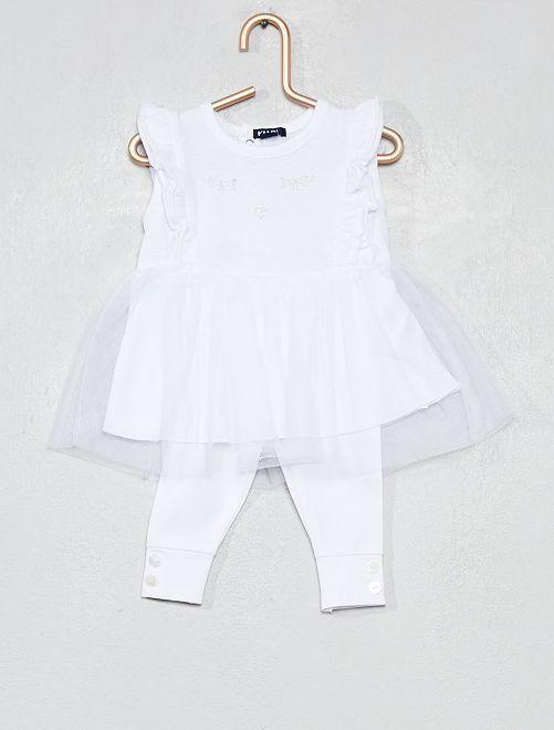 Conjunto de vestido tutú + legging                                         blanco Bebé niña