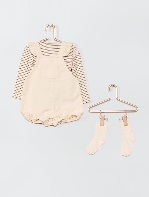 Conjunto 'eco-concepción mono + camiseta + calcetines                             BLANCO