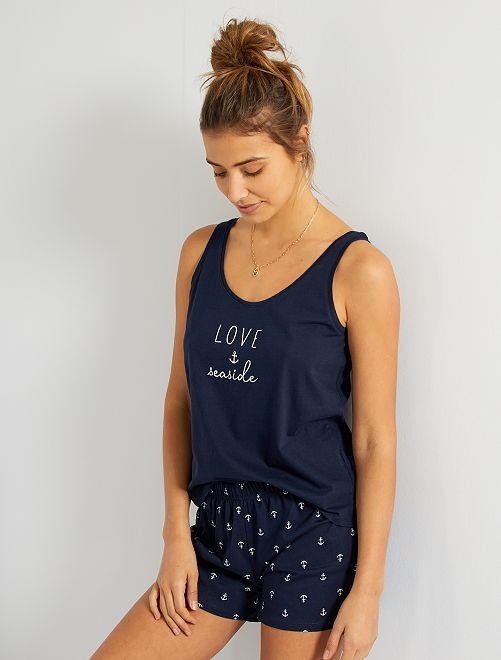 Conjunto estampado de camiseta de tirantes + short                                                                                         azul