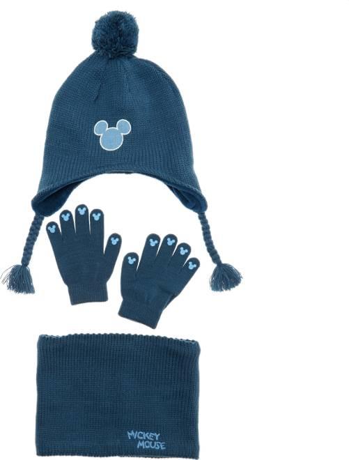 Conjunto gorro + braga + guantes 'Mickey'                             AZUL Chico