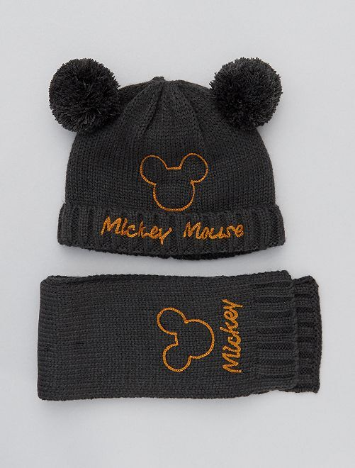 Conjunto gorro + bufanda 'Mickey'                             gris oscuro
