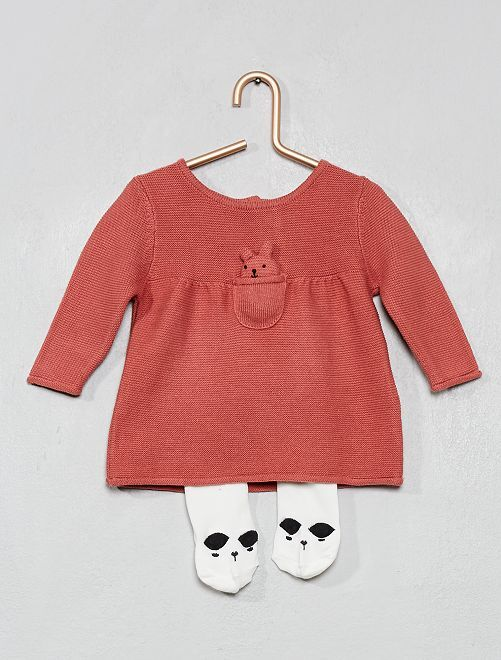Conjunto vestido punto algodón + leotardos                                         ROSA