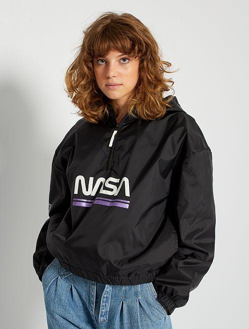 Cortavientos con capucha impermeable 'NASA'                             negro