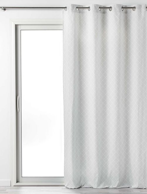 Cortina de algodón estampada Lenon                                         blanco