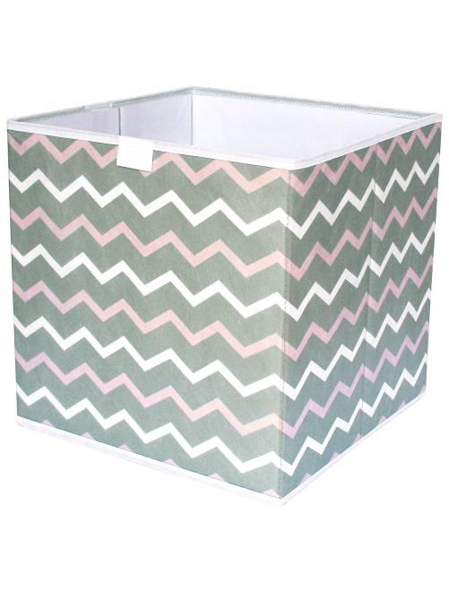 Cubo de almacenaje plegable con estampado en 'zigzag'                                         blanc/rose/taupe Hogar