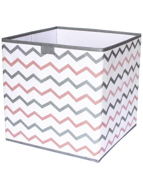 Cubo de almacenaje plegable con estampado en 'zigzag'                                         gris/rose/blanc Hogar
