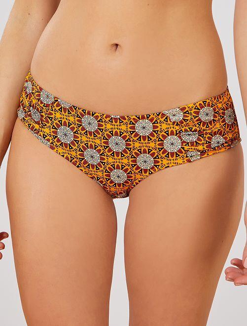 Culotte de bikini con frunces laterales                                         NARANJA
