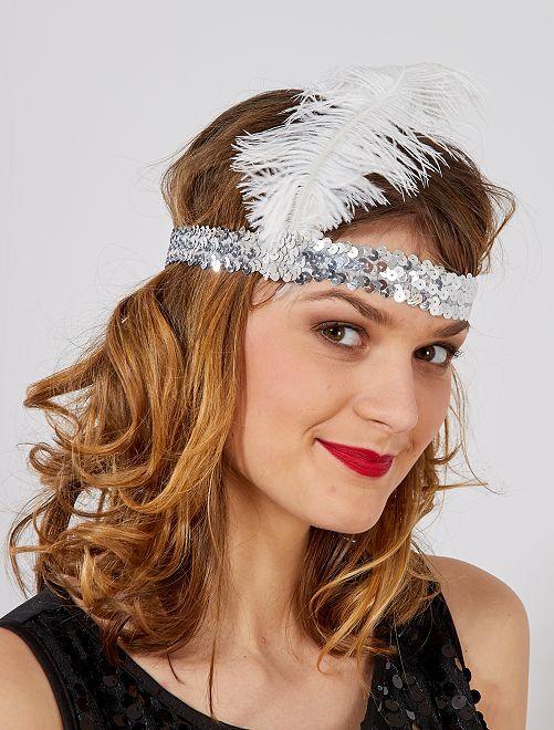 Diadema con lentejuelas y pluma 'Charlestón'                                                     gris Mujer