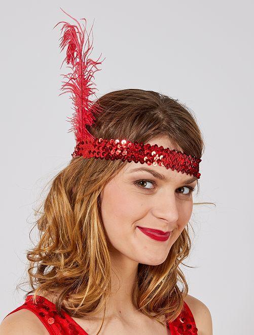 Diadema con lentejuelas y pluma 'Charlestón'                                                     rojo Mujer