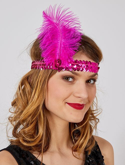 Diadema con lentejuelas y pluma 'Charlestón'                                 rosa