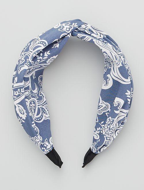 Diadema estampada tipo bandana                                                     azul