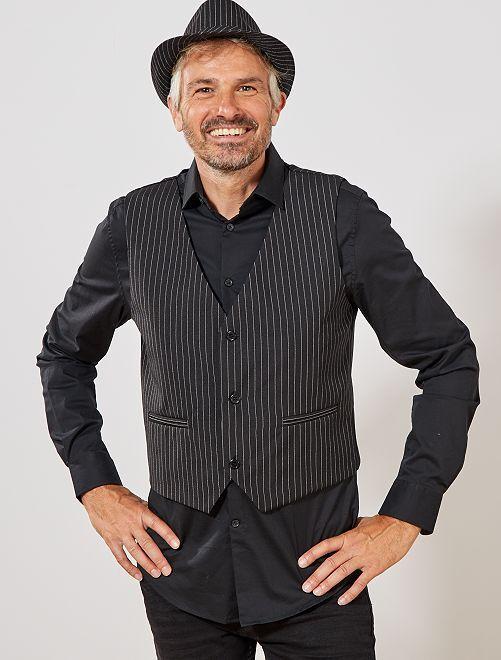 Disfraz chaleco rayas                             negro/blanco