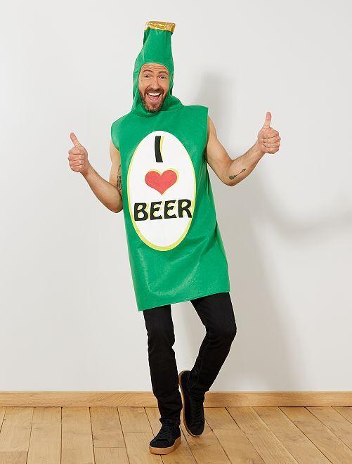 Disfraz de botella de cerveza                             verde Hombre