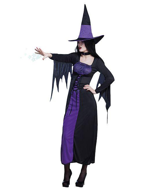 Disfraz de bruja                             negro violeta
