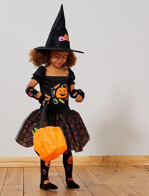 Disfraz de bruja                             negro/naranja