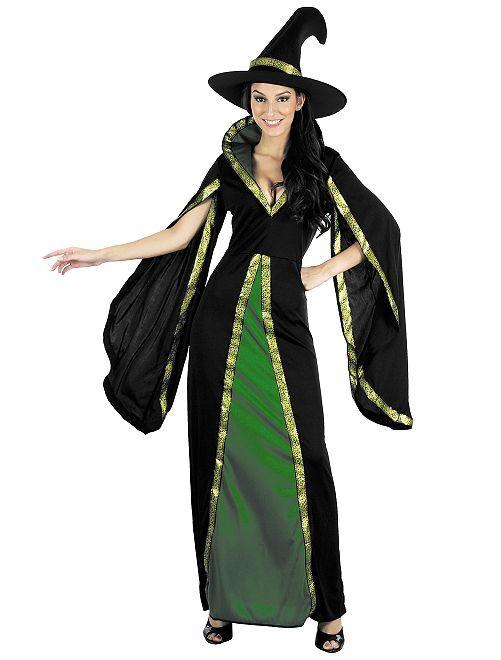 Disfraz de bruja                             negro/verde