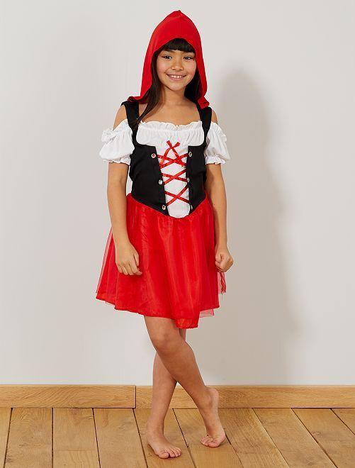 Disfraz de Caperucita Roja                             rojo/blanco