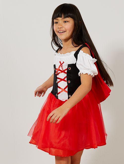 Disfraz de Caperucita Roja                             rojo/blanco Niños