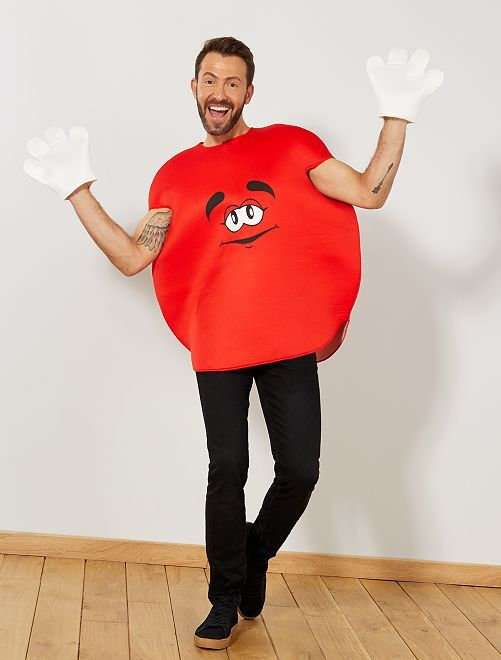 Disfraz de caramelo redondo                                         rojo Hombre